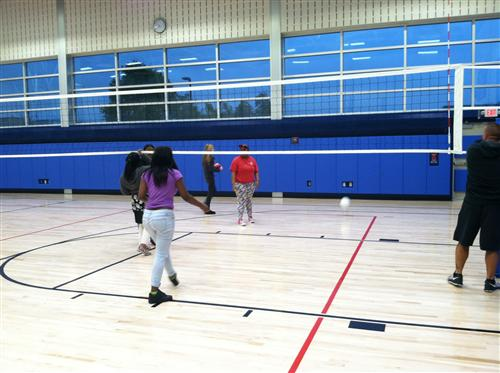 career center students playing volleyball