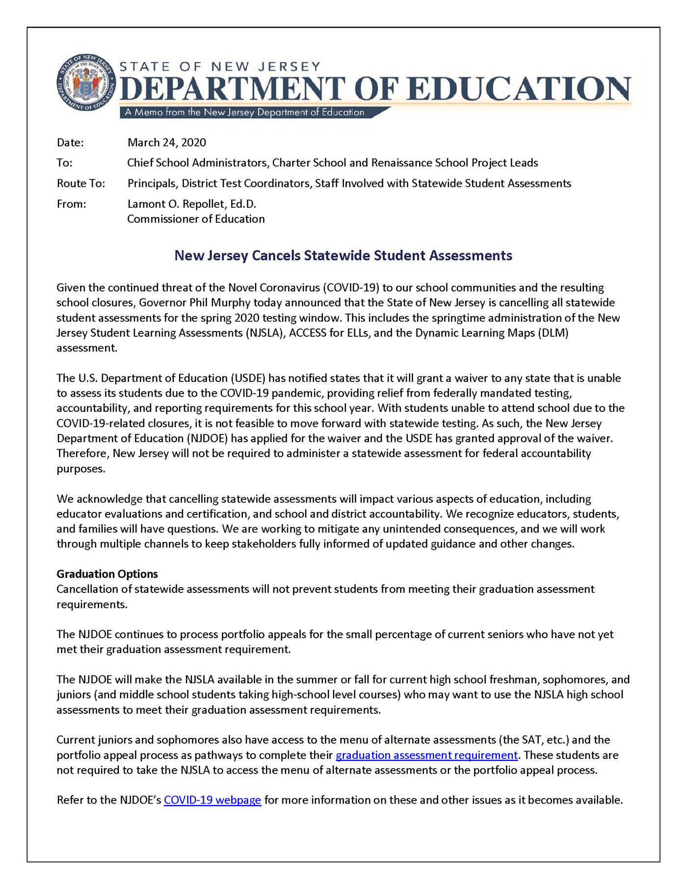 NJDOE Assessment Note Regarding Testing