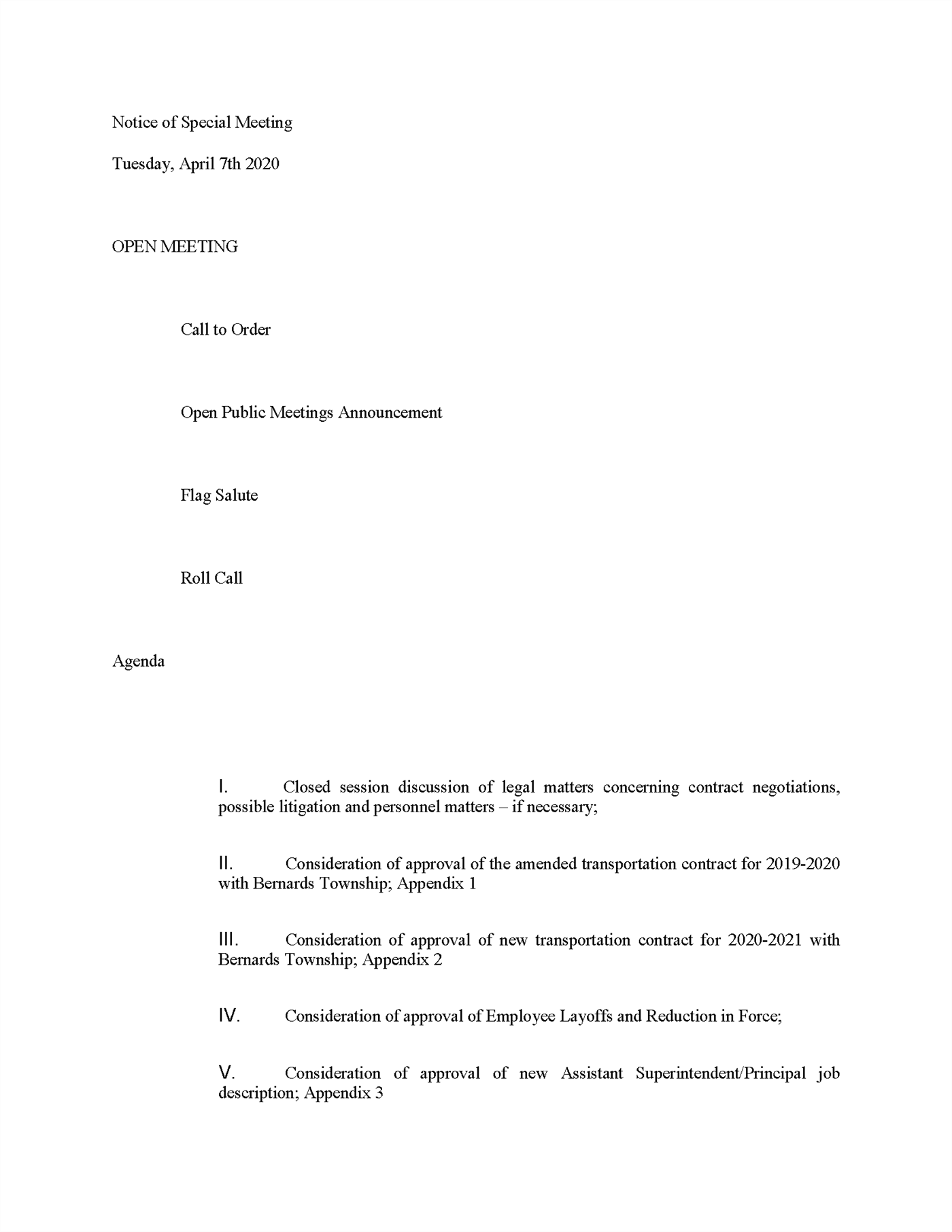 Notice of Special Meeting Tuesday, April 7th 2020