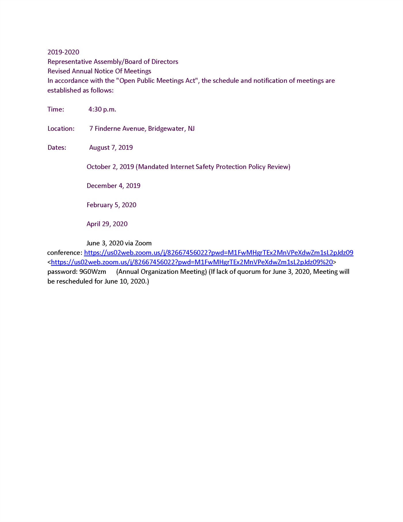 Revised Annual Notice of Meetings - June 2020